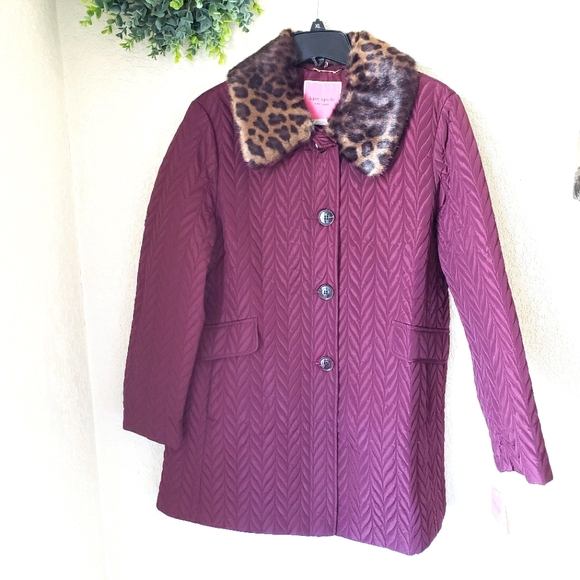 New Kate Spade New York Quilted Faux Fur Coat XL